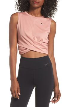 Dry Crop Twist Training Top,                         Main,                         color, RUST PINK/ BLACK