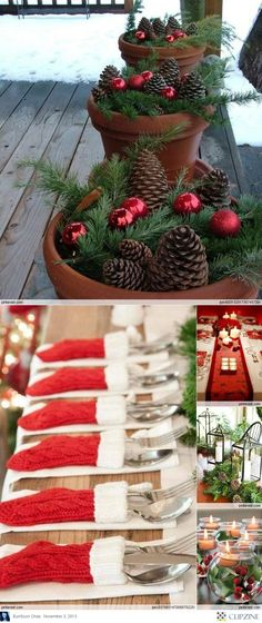 Christmas decorations I like the planter with pine cones and tree trimmings
