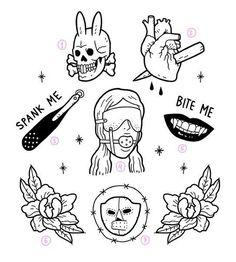 Emo Tattoos, Grunge Tattoo, Grunge Art, Cute Tattoos, Body Art Tattoos, Sketch Tattoo Design, Tattoo Sketches, Tattoo Drawings, Tattoo Designs