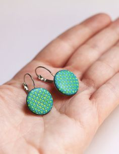 Turquoise blue and green earrings Contemporary jewelry Geometric dangles Modern minimal earrings Casual jewelry for girls Drop earrings gift