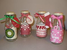 I also altered several of these bottles for our annual christmas store. After they were decorated I filled them with candy. Starbucks Bottle Crafts, Starbucks Bottles, Cute Diy Projects, Christmas Store, Jar Crafts, Stampin Up Cards, Handmade Crafts, Boho Decor, Crafty