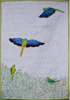 The Orange Bellied Parrot by Laura-Mae Stanton. Evolution, Change, Challenge Contemporary Art Quilt exhibit.  Quilters' Guild of NSW (Australia) 2015..