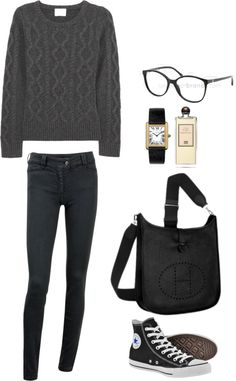Untitled par gloriajo utilisant how to wear tricot à torsades Winter Outfits, Casual Outfits, Cute Outfits, Fashion Outfits, Womens Fashion, Sport Chic, Beckham, Shirts For Leggings, Outfits With Converse