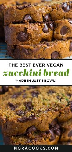 Easy 1 Bowl Vegan Zucchini Bread! So moist and fluffy. Add chocolate chips or walnuts. #vegan #plantbased Vegan Zucchini Muffins, Best Zucchini Bread, Zucchini Bread Recipes, Dairy Free Chocolate Chips, Chocolate Recipes, Easy Desserts, Dessert Recipes, How To Store Bread, Gluten Free Flour Mix