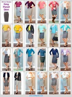 Grey pencil skirt....styled in a lot of different ways!