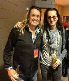 Rock is all about good looks. Nicko McBrain (Iron Maiden) and Geddy Lee (Rush)