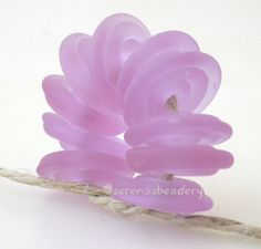Wavy+Disks+PINK+CHAMPAGNE+Matte+Lampwork+Beads+Glass+by+taneres,+$10.50