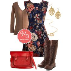 In this outfit; Twilight on the Terrace Dress, Charter School Cardigan in Camel, Om My Darling Earrings, Loop You in Necklace, Cambridge Satchel Upwardly Mobile Satchel in Red, Follow the Cedar Boot #weekendoutfit #cozyfallfashions #satchel