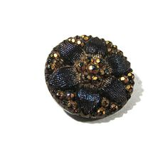 Victorian Black Glass Button VINTAGE One (1) Blue & Gold Luster Cut Steel Flower Black Glass Button Vintage Jewelry Sewing Supplies (J6) by punksrus on Etsy