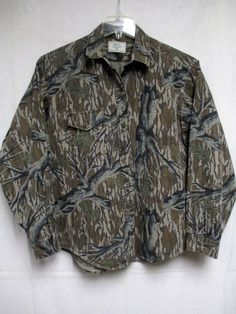 Mossy Oak Women's Camouflage Shirt Button Front Long Sleeve Size Large #MossyOak…