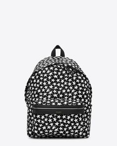Saint Laurent   Classic Hunting Backpack in Black and White Star Printed Faux Leather and Black Leather and Nylon
