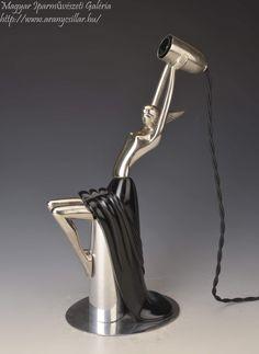 Art deco nőalakos lámpa / Art deco Lamp with a woman figure Debreceni Lámpagyár, Made from wood and metal Desk Lamp, Table Lamp, Art Deco Lamps, Women Figure, Wood And Metal, Lighting, Dancer, 1, Home Decor