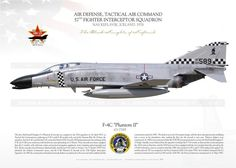 """UNITED STATES AIR FORCE  AIR DEFENSE, TACTICAL AIR COMMAND 57th Fighter Interceptor Squadron """"The Black Knights of Keflavik"""" NAS Keflavik, Iceland. 1978  On 02.01.1967 with 555th TFS, 8th TFW.  crew 1st Lt. R.F. Wetterhahn, 1st Lt. J.K. Sharp shot down by AIM-7E a VNAF MiG-21 Air Fighter, Fighter Jets, Air Vietnam, Keflavik Iceland, Airplane Illustration, F4 Phantom, Mig 21, Us Air Force, Aviation Art"""