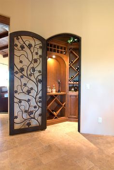 """Closet turned into wine """"cellar.""""  Must do this!!"""