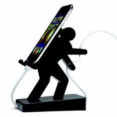 Der Handyhalter Boris ist super praktisch. Er trägt Dein Smartphone auf seinem Rücken während der Akku aufgeladen wird.