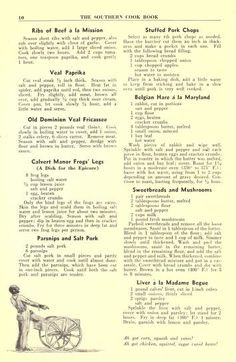 The Southern cook book of fine old recipes Retro Recipes, Vintage Recipes, Cookbook Recipes, Baking Recipes, Rib Recipes, Copycat Recipes, Easy Diner, Creole Recipes, Cooking