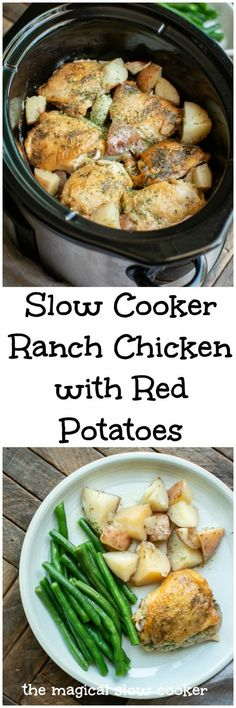 Slow Cooker Ranch Chicken with Red Potatoes - Food & Drink - Crockpot Health Slow Cooker Recipes, Slow Cooker Hamburger Recipes, Slow Cooker Freezer Meals, Crockpot Dishes, Slow Cooker Chicken, Crockpot Recipes, Crockpot Ranch Chicken, Diet Recipes, Crockpot Chicken And Stuffing