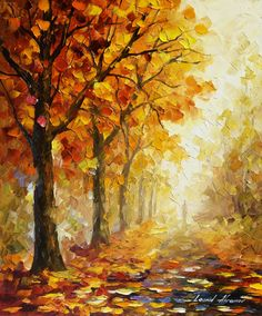 "SYMBOLS OF AUTUMN - Original Oil Painting On Canvas By Leonid Afremov - 20""x24"" (50cm x 60cm)"