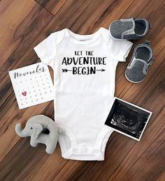 Let the Adventure Begin. Cute pregnancy announcement idea. Custom bodysuit baby onesie $14.95 allmyheartboutique.com #pregnancyannouncementonesie,