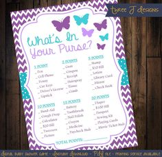 Butterfly Baby Shower What's In Your Purse Game  by ThreeJDesigns