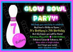 Glow in the dark Bowling invitations birthday by greenmelonstudios