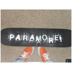"""Skateboard i spray painted Paramore Photos ❤ liked on Polyvore"" If i was a skateboarder I would totally do this."