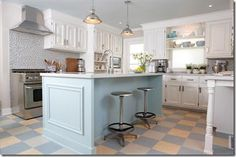 Pastel blue Blue pastel and white kitchen - Marmoleum tiles checkerboard in cream, light grey and blue