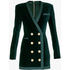 Balmain Double-breasted cotton-velvet mini dress featuring polyvore, fashion, clothing, dresses, balmain, v neck mini dress, green velvet dress, cotton dress, mini dress and zipper dress