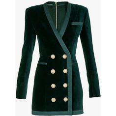 Balmain Double-breasted cotton-velvet mini dress (€2.680) ❤ liked on Polyvore featuring dresses, balmain, v neck dress, v neck mini dress, mini dress and short green dress
