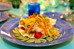 Healthy & Exotic Conch Salad with Turmeric Vinaigrette from Chef Sony Namdev of Luxury Catamaran CHE.