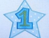 First Birthday Star Machine Embroidery Design Applique - Three Sizes - 4x4, 5x7 and 6x10
