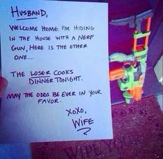 Cute idea to do for your boyfriend/husband. I would totally win!