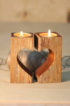 Wooden Candle Holders Rustic Heart Decorative