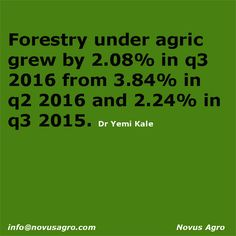 AGRICULTURE IS GODS GIFT TO HUMANITY Investing into forestry will be a huge means of addressing the nation's emerging environmental, social and economic challenge. Nigeria is blessed with a large expanse of land and different vegetation types that are not sustainably used or managed, with the attendant impact of climate change.