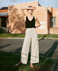 wide leg linen pants, black camisoles.