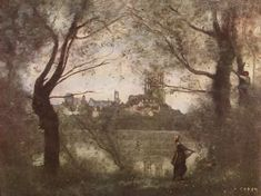 Jean-Baptiste-Camille Corot: Cathedral of Mantes, with Young Woman (ca. 1860)