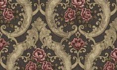 Tapet vinil trandafiri elegant 7929 Cristina Masi Lei Textile Pattern Design, Textile Patterns, Textiles, Embroidery Patterns, Fabric Design, Victorian Wallpaper, Damask Wallpaper, Paper Wallpaper, Curtain Patterns