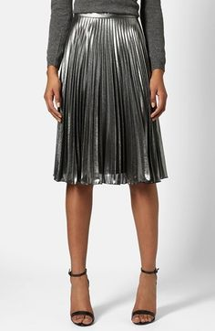 Topshop Pleated Midi Skirt