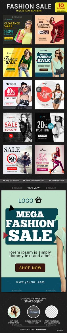Fashion Sale Instagram Templates  10 Designs — Photoshop PSD #retargeting #web banner • Available here → https://graphicriver.net/item/fashion-sale-instagram-templates-10-designs/12298366?ref=pxcr