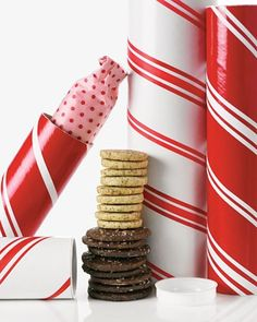 Holiday Cookie Mailing Tubes  With some red and white tape and a mailing tube, you can send your Christmas cookies in style no matter where your loved ones live.  How to Make the Holiday Cookie Mailing Tubes