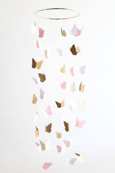 Gold and Pink Butterfly Mobile Baby Girl Nursery Crib Cream Toddler Room Decor Home Gold und rosa Schmetterling Mobile Baby Mädchen von TheDreamBarn Toddler Room Decor, Baby Girl Room Decor, Girl Decor, Baby Room, Baby Decor, Butterfly Mobile, Pink Butterfly, Butterfly Bedroom, Nursery Crib