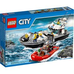 Toss the crook in the Police Patrol Boat's holding cell and start the cruise to Prison Island to drop him off. Watch out, another crook has pulled alongside and is trying to break the prisoner out of the cell with the getaway boat's anchor. Can you stop them escaping and bring the crooks to justice?<br><br>The LEGO City Police Patrol Boat Building Toy Set 200 Pieces - 60129 Features:<br><ul><li>Includes 4 minifigures: a policeman, policewoman, female crook and a male…