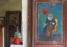 Papier peint renarde & violoncelle - Illustratrice Sandrine Chambéry - Made…