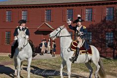 Generals Washington and Lafayette address the troops from horseback before leaving for the Battle of Yorktown.