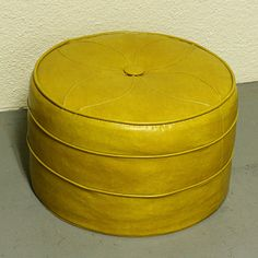 Vintage foot stool hassock ottoman footrest by moxiethrift 1970s Childhood, Childhood Memories, Yellow Cushions, Oldies But Goodies, Sweet Memories, Mellow Yellow, The Good Old Days, Foot Rest, Vintage Toys