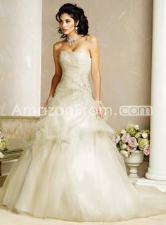Gorgeous A-Line Strapless Embroidering Organza Chapel Wedding Dresses
