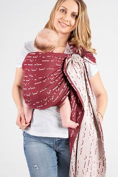 Exhibiting luxuriously soft and airy jacquard weave, ISARA Ruby Code Ring Sling provides the ultimate amount of breathability and comfort for a safe cuddling position. The stunning burgundy-ruby merges perfectly with the softest creamy hue, creating a lovely concoction of colors, suitable for all wear-me-in-a-hug days. Decipher the babywearing love with the help of dots and dashes together with ISARA. Cuddling Positions, Ring Sling, Woven Wrap, Morse Code, Babywearing, Jacquard Weave, Hue, The Help