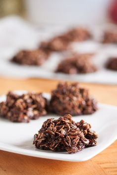 VERY EASY and Pretty darn good :) These no-bake chocolate macaroons are dense and fudgy and loaded with chewy oats and coconut. They're almost more like candy than cookie.