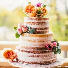 todays favorite trend is nake cake guys! giving a more rustic and laid back feeling to the wedding is not an easy task   what do you think? would you go naked on your wedding day?#wedding #weddingcake #cake #nakedcake #pink #flowers #bridetobride #isaidyes #weddingplanning #rusticwedding #weddingideas