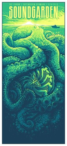 Soundgarden Poster by Dan Mumford Rock Posters, Band Posters, Retro Posters, Concert Rock, Dan Mumford, Claude Monet, Poster Art, Gig Poster, Expo